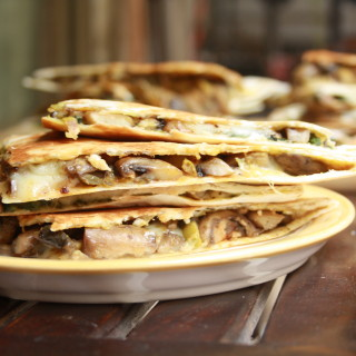 Spinach + Mushroom and Mushroom + Olive Quesadillas