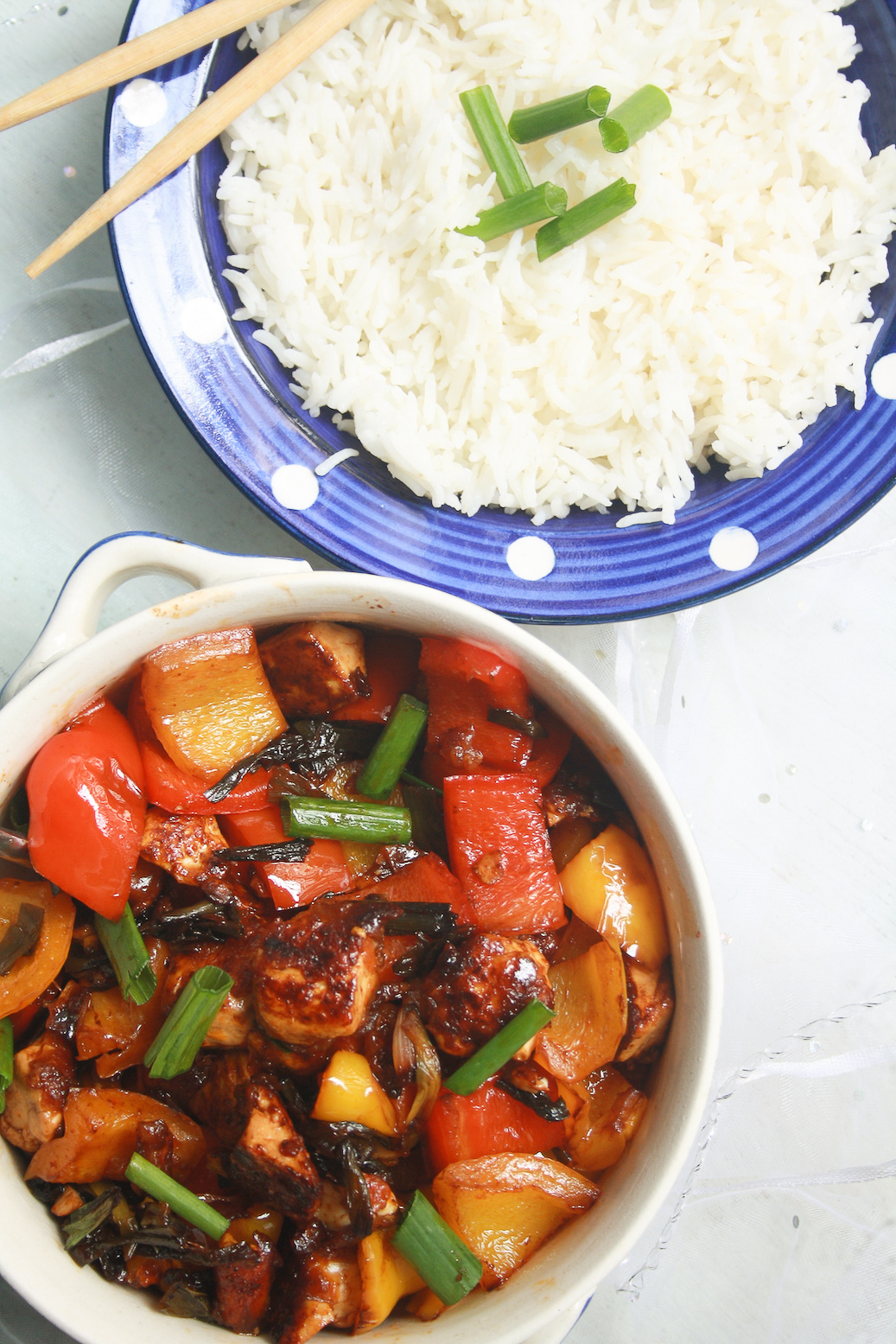 Quick and flavourful tofu veggie stir fry with plenty of zippy ginger teriyaki flavour!