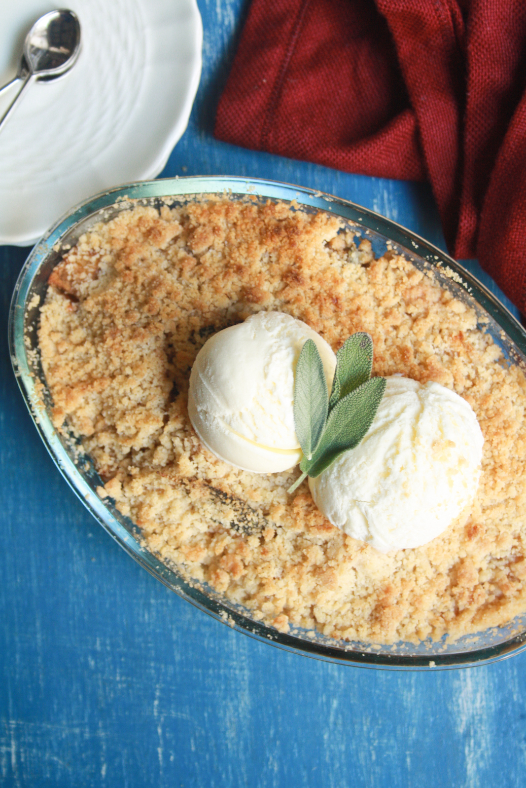 Classic apple crumble taken up a notch with the subtle, floral aroma of fresh sage leaves!
