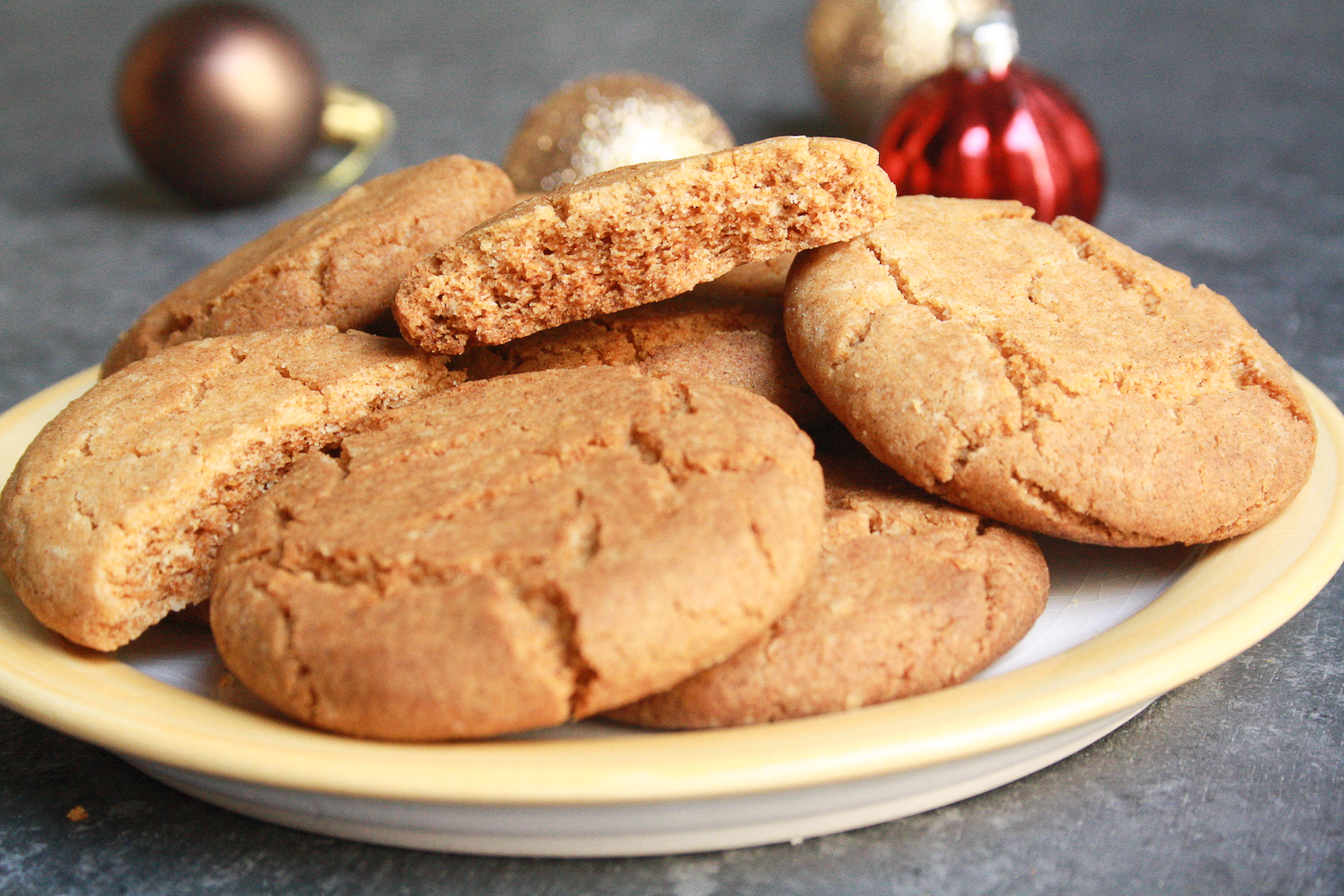 Perfectly sweet and spicy ginger biscuits waiting to be dunked into a mug of hot tea!