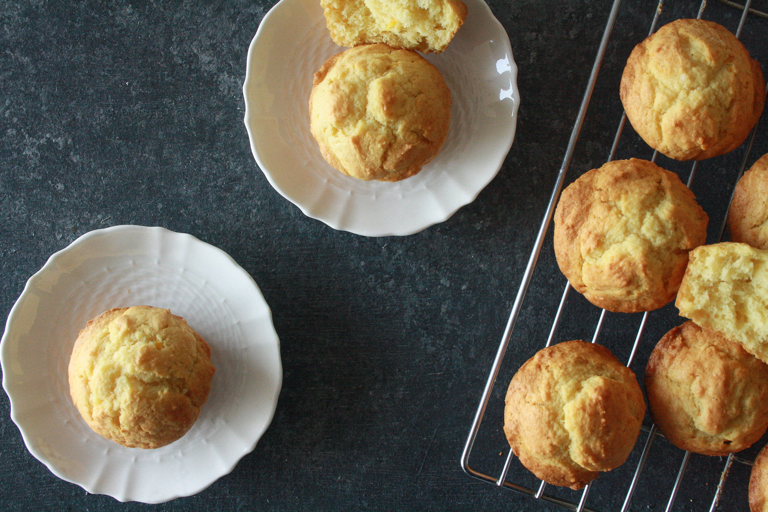 Fluffy, citrusy muffins with fresh orange juice and creamy ricotta.