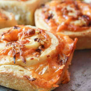 Caramelised Onion and Cheddar Rolls (Eggless)