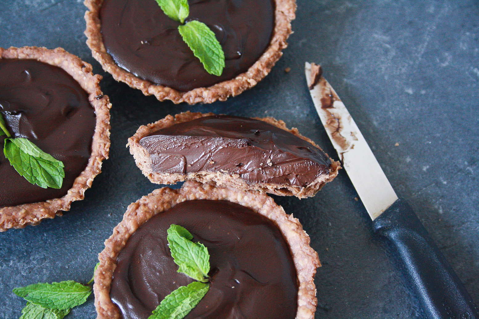 Buttery chocolate tart shells filled with a rich, fresh mint infused, chocolate ganache!