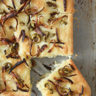 Caramelised Onion and Olive Focaccia (Vegan)