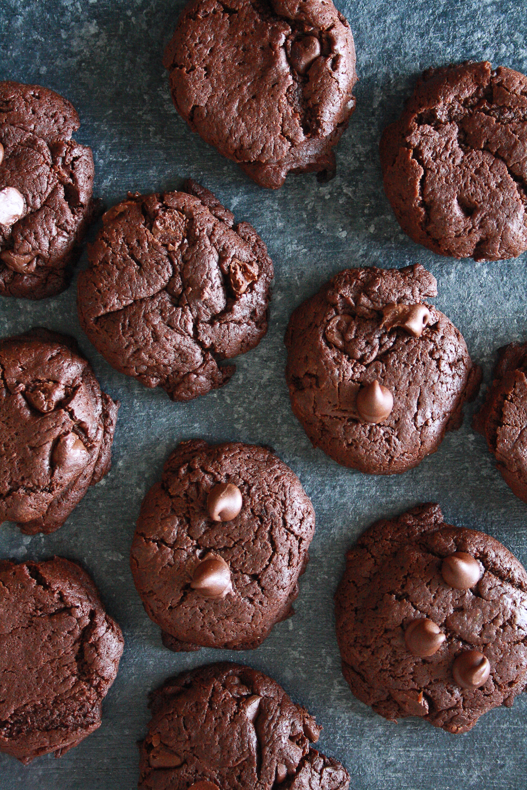 Dark, rich, fudgy, gluten-free double chocolate cookies made with buckwheat flour!