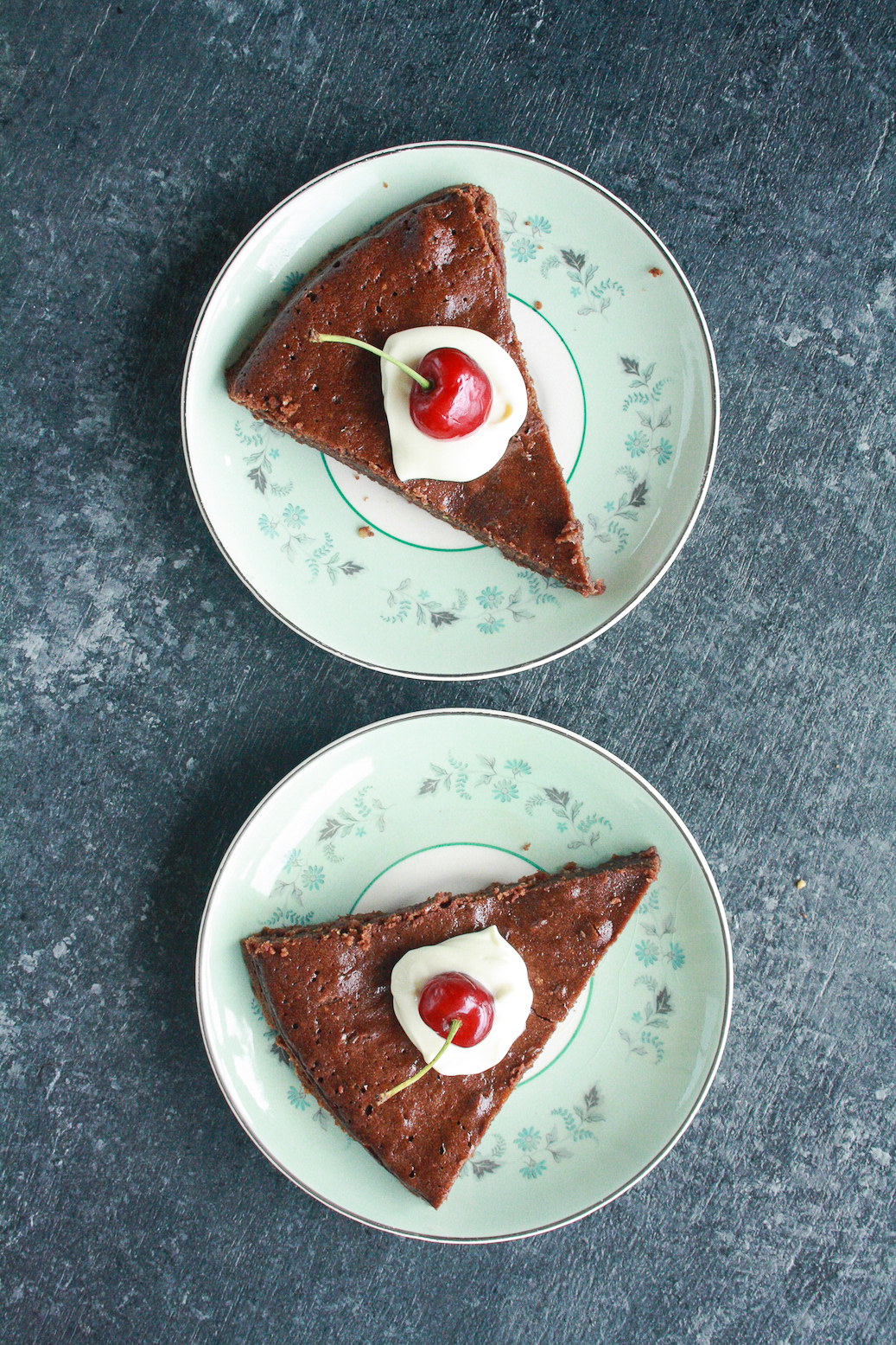 Moist and fudgy gluten-free cake made with buckwheat flour and hazelnuts