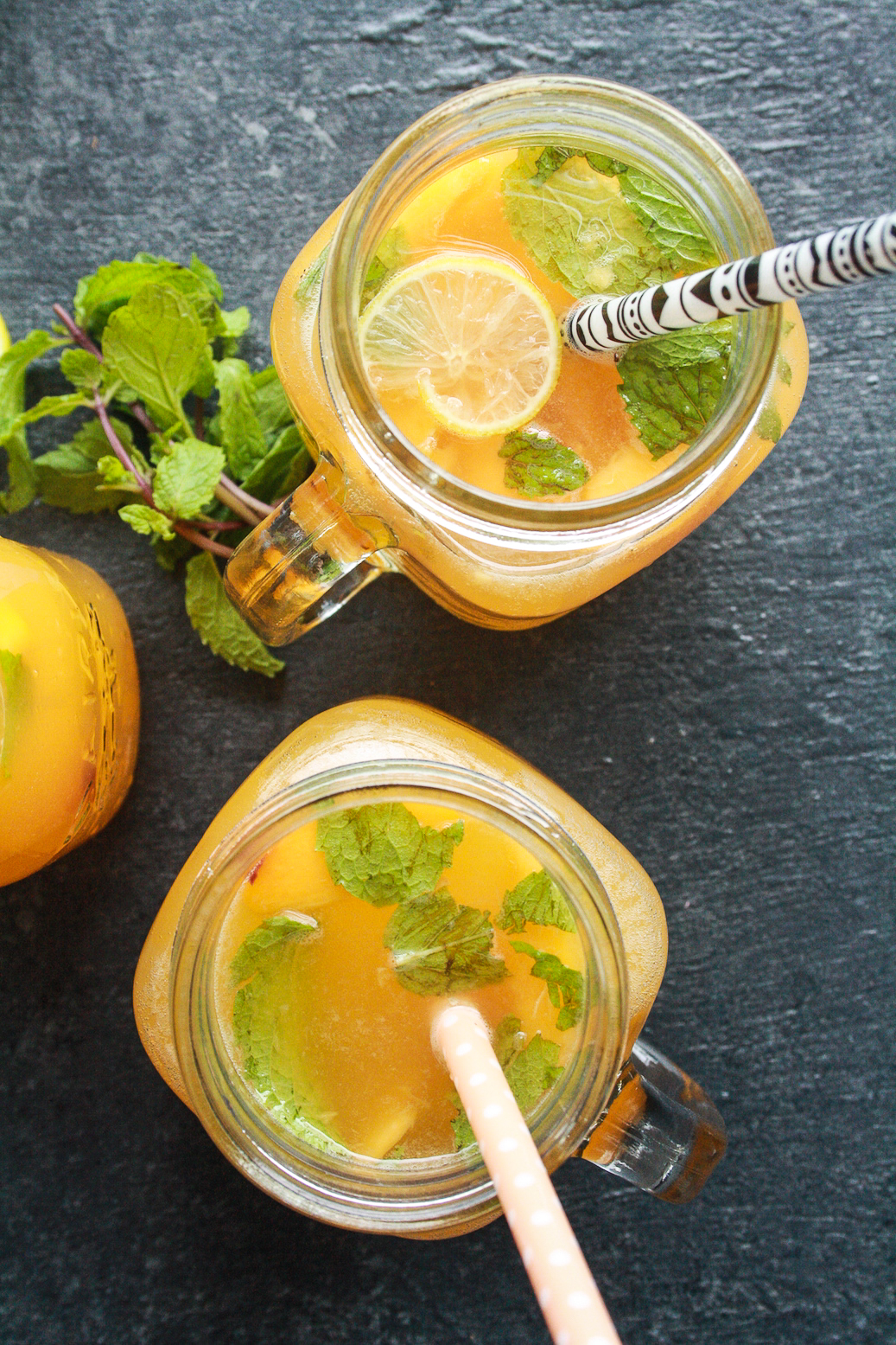 Refreshing lemonade made with fresh peaches and honey!