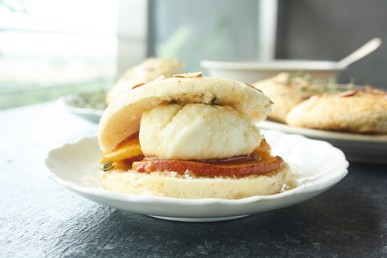 Tender, buttery shortcakes with honey thyme peaches and creamy mascarpone!