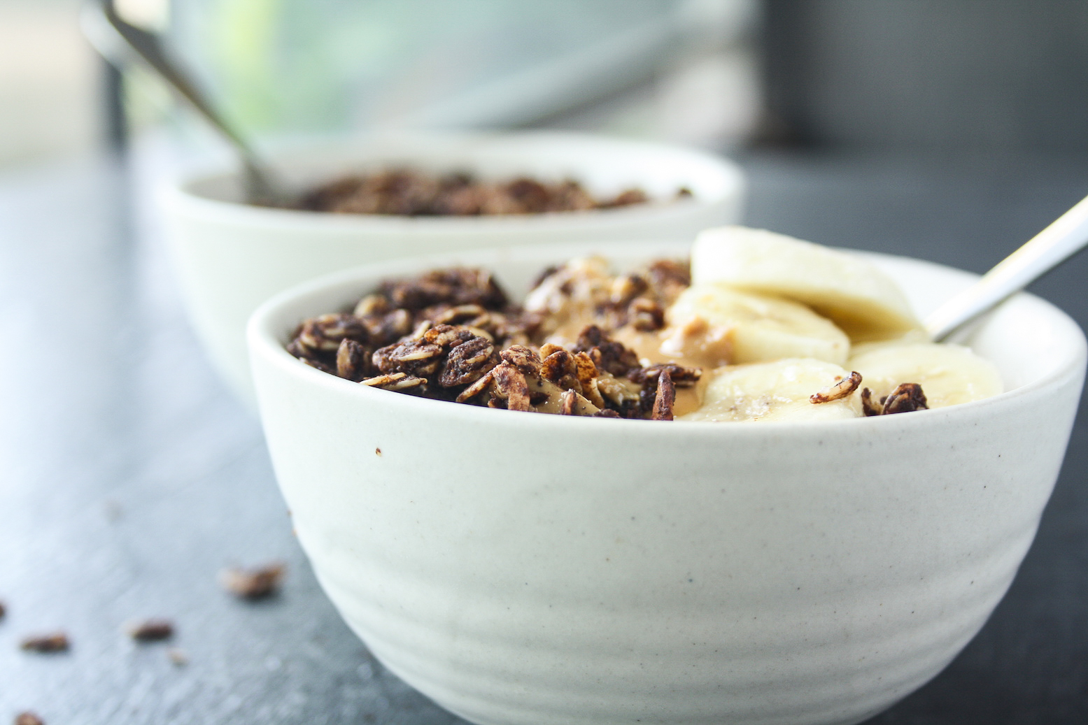 Crispy, chocolate granola with peanut butter and almonds. Gluten-free and easily vegan!