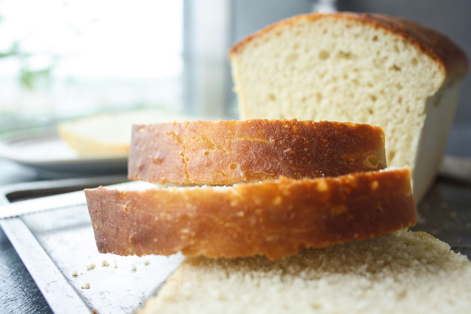 Homemade, tender, chewy white bread!