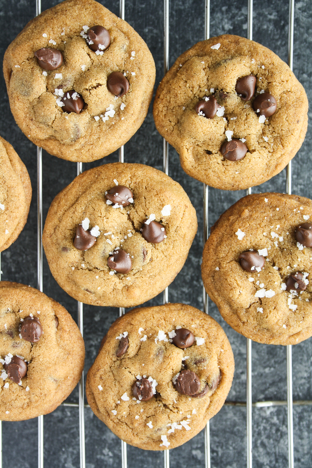 Chewy buttery chocolate chip cookies with vanilla bean, coffee and lots of sea salt!