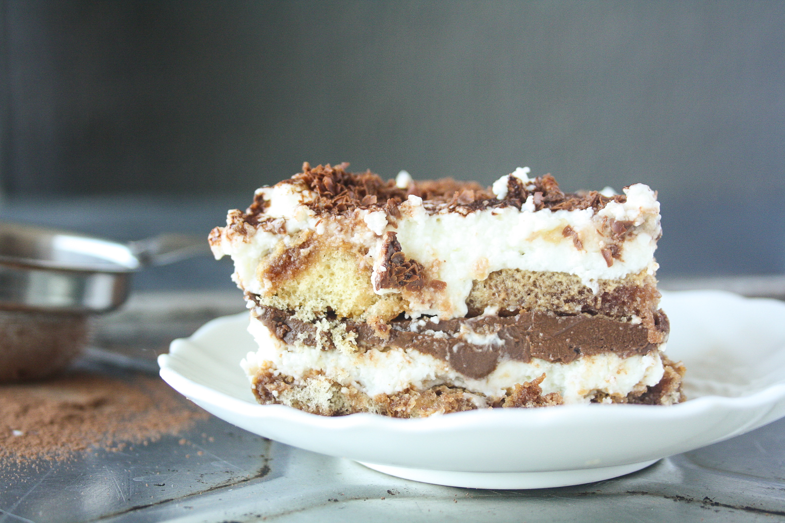 A rich chocolate tiramisu layered with ganache and mascarpone!