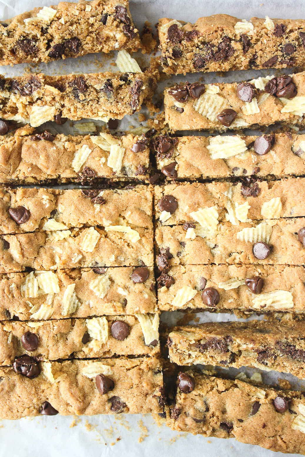 Chewy, buttery, sweet salty cookie bars filled with crushed potato chips and lots of chocolate chips!