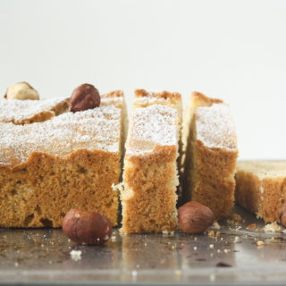 Tender butter cake made with ground hazelnuts