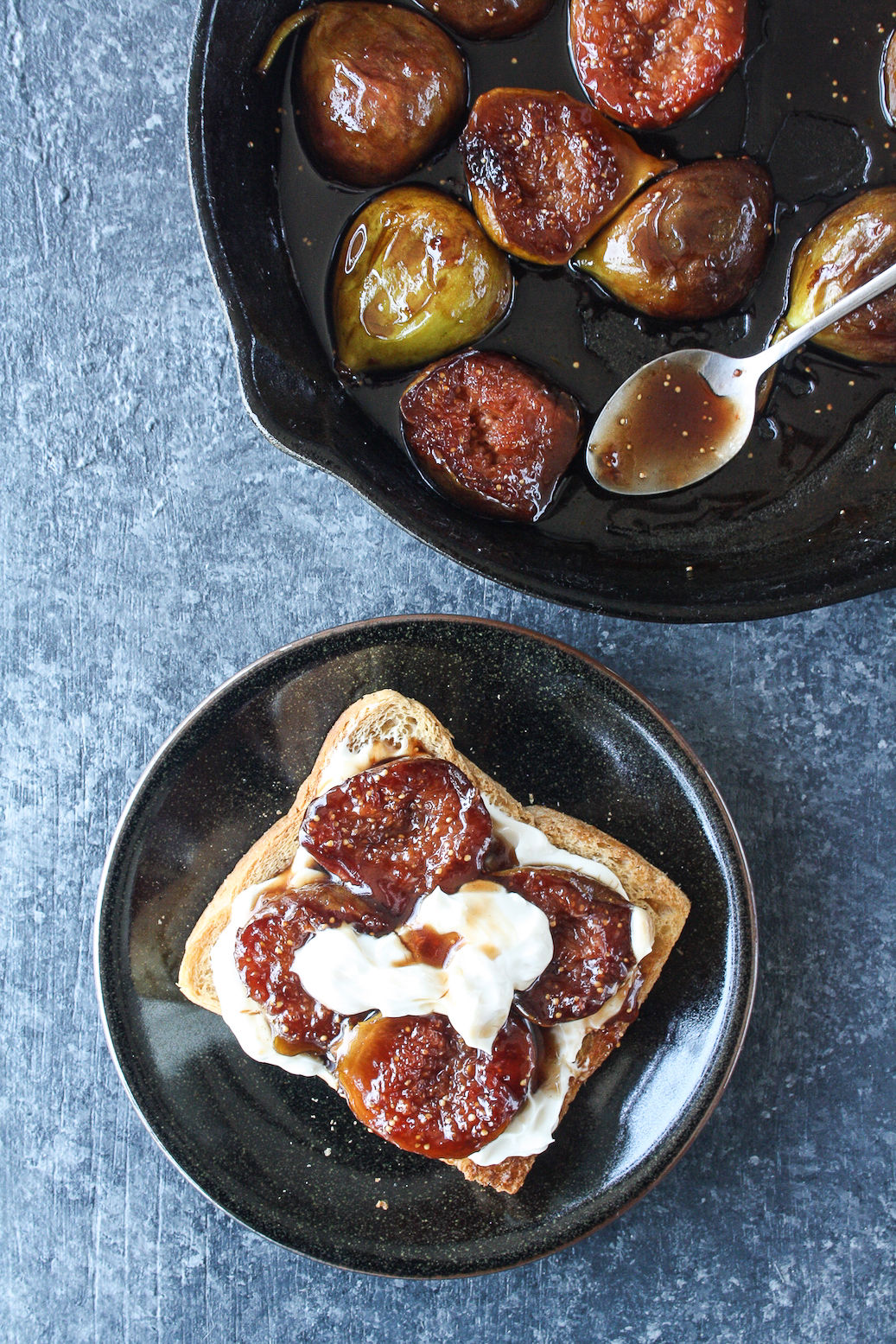 Tender figs caramelised in honey and balsamic vinegar, served with honey infused hung yogurt