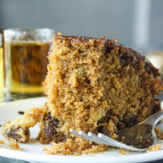 Whiskey Raisin Cake with Caramel Glaze