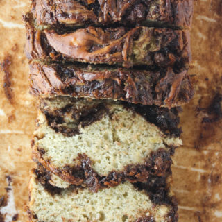 Nutella Swirled Banana Bread (Eggless)