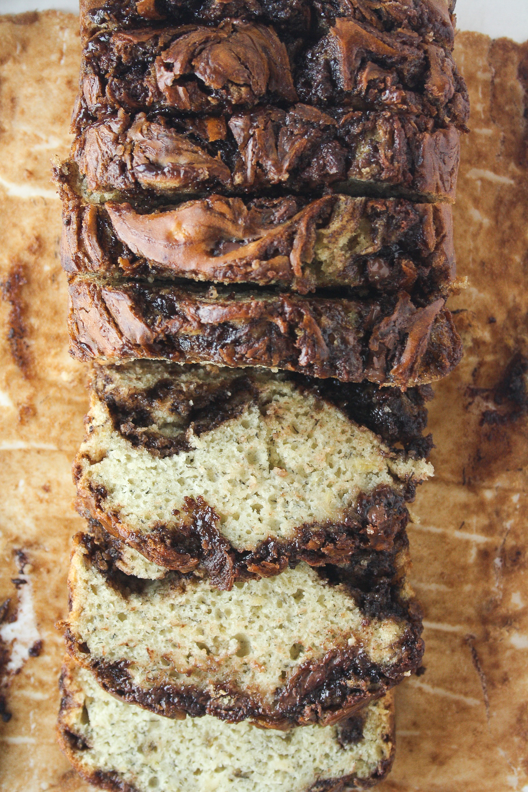 Moist and tender banana bread with lots of Nutella swirled through it!
