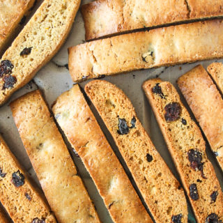 Classic crunchy biscotti infused with orange zest and lots of cranberries!