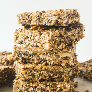 Chewy, healthy quinoa peanut butter bars with chia and flax seed!