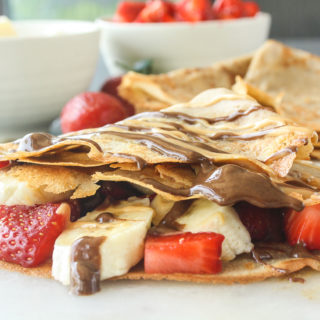Super quick buckwheat crepes, easily made vegan, and filled with fresh fruit and nut butters!