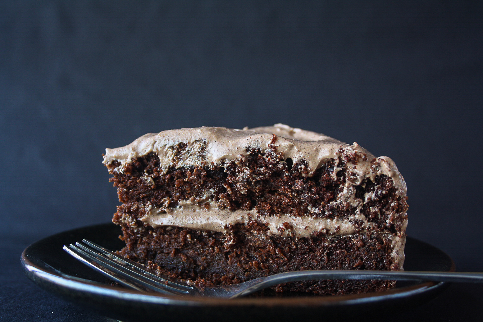 Moist, decadent chocolate layer cake with tangy cream cheese frosting!