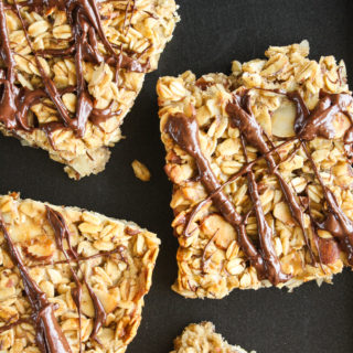 Soft and chewy granola bars with banana and peanut butter!