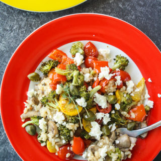 White Wine Risotto with Roasted Veggies