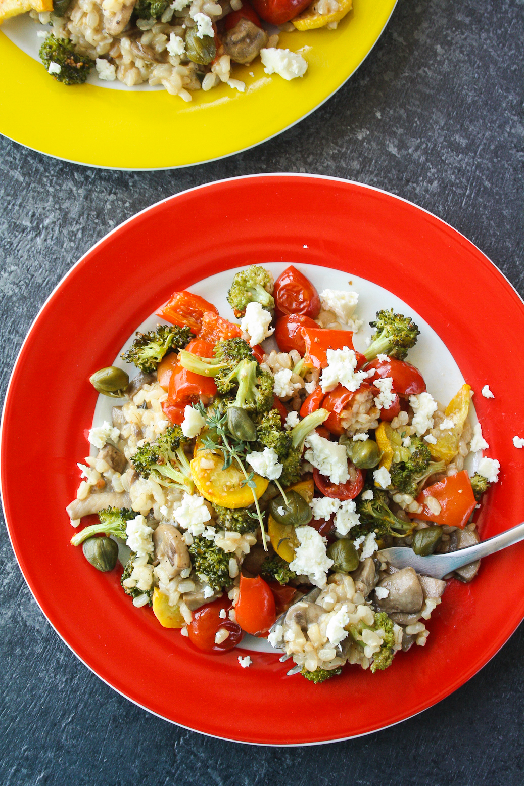 Hearty, healthier brown rice risotto with lots of veggies!