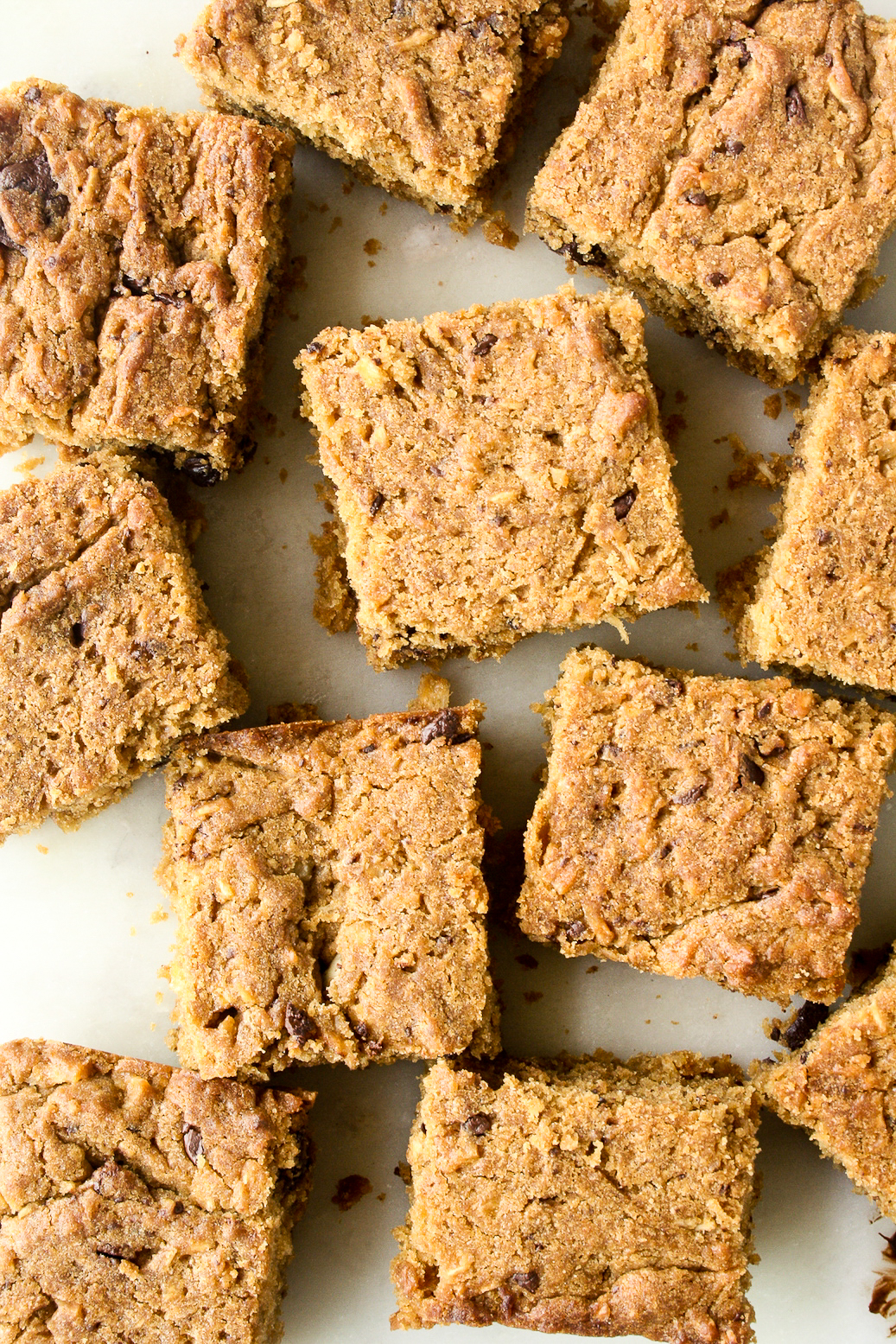 Chewy brown sugar blondies with coconut and dark chocolate!
