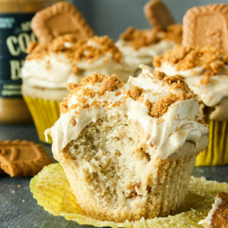 Cookie butter cupcakes with cream cheese cookie butter frosting!