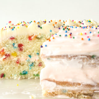 Buttery layer cake with sprinkles and pink frosting!