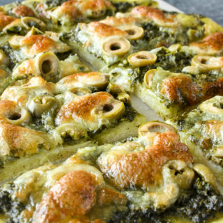 Cheesy homemade pesto flatbread!