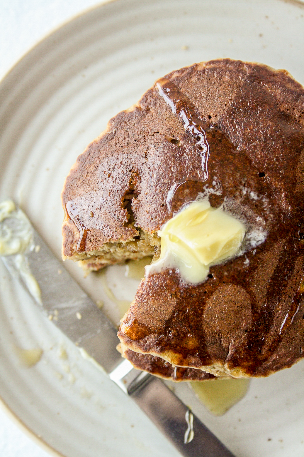 Soft and fluffy banana pancakes made with oat flour!