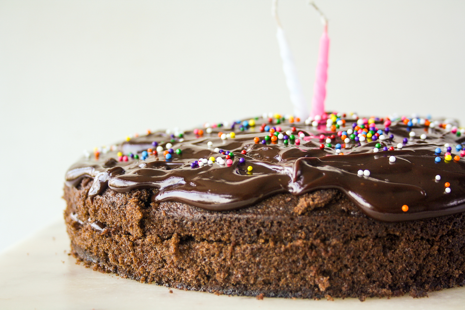 Moist chocolate cake with chocolate caramel frosting