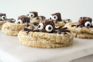 Delicious peanut butter cookies with spider decorations!