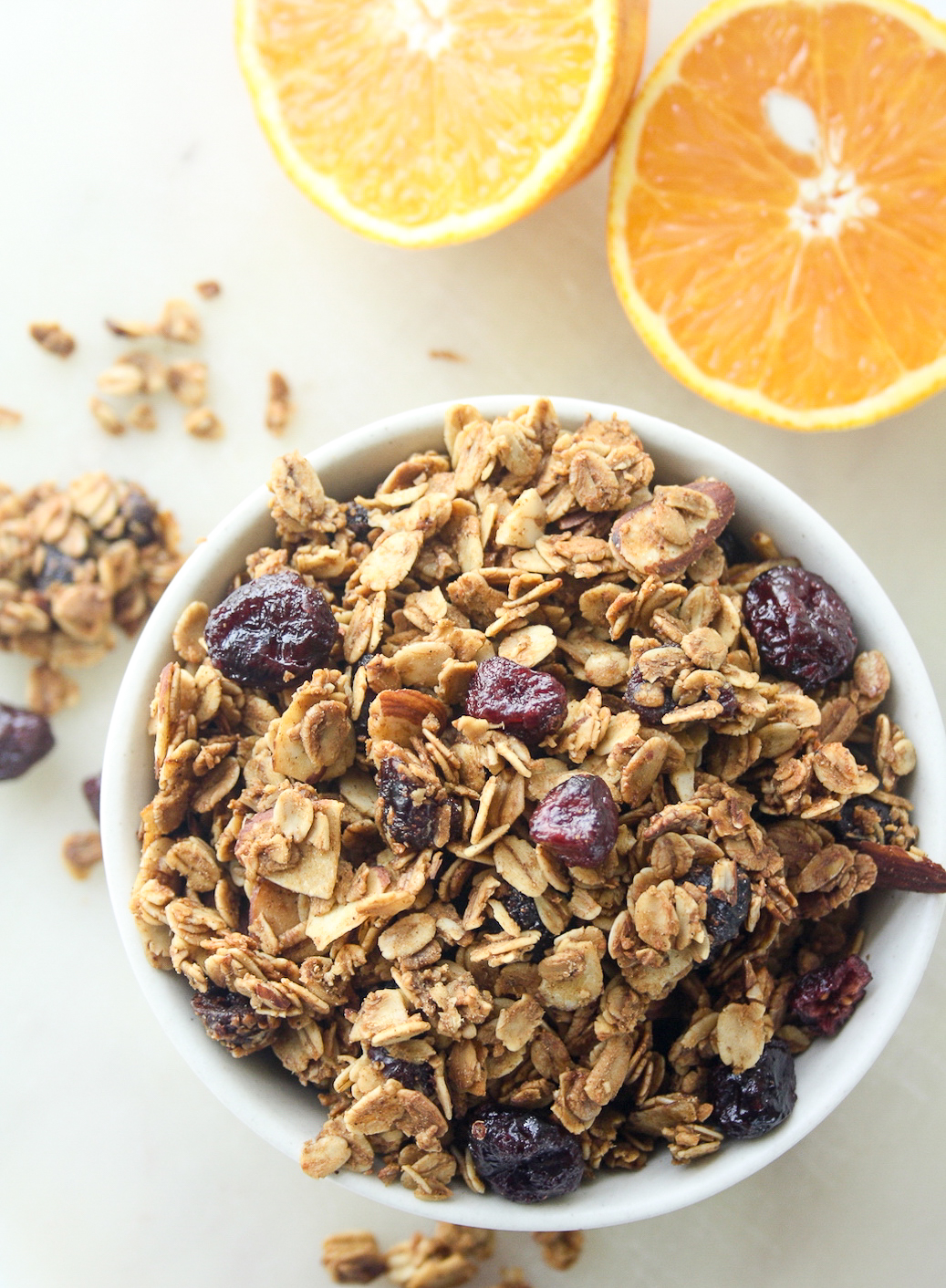Crunchy spiced granola with cranberries and fresh orange