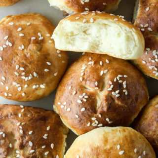 Soft, buttery, eggless rolls with a pretzel-like crust!