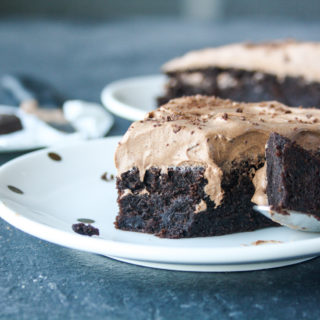 Moist, eggless chocolate and olive oil cake with a silky whipped ganache frosting
