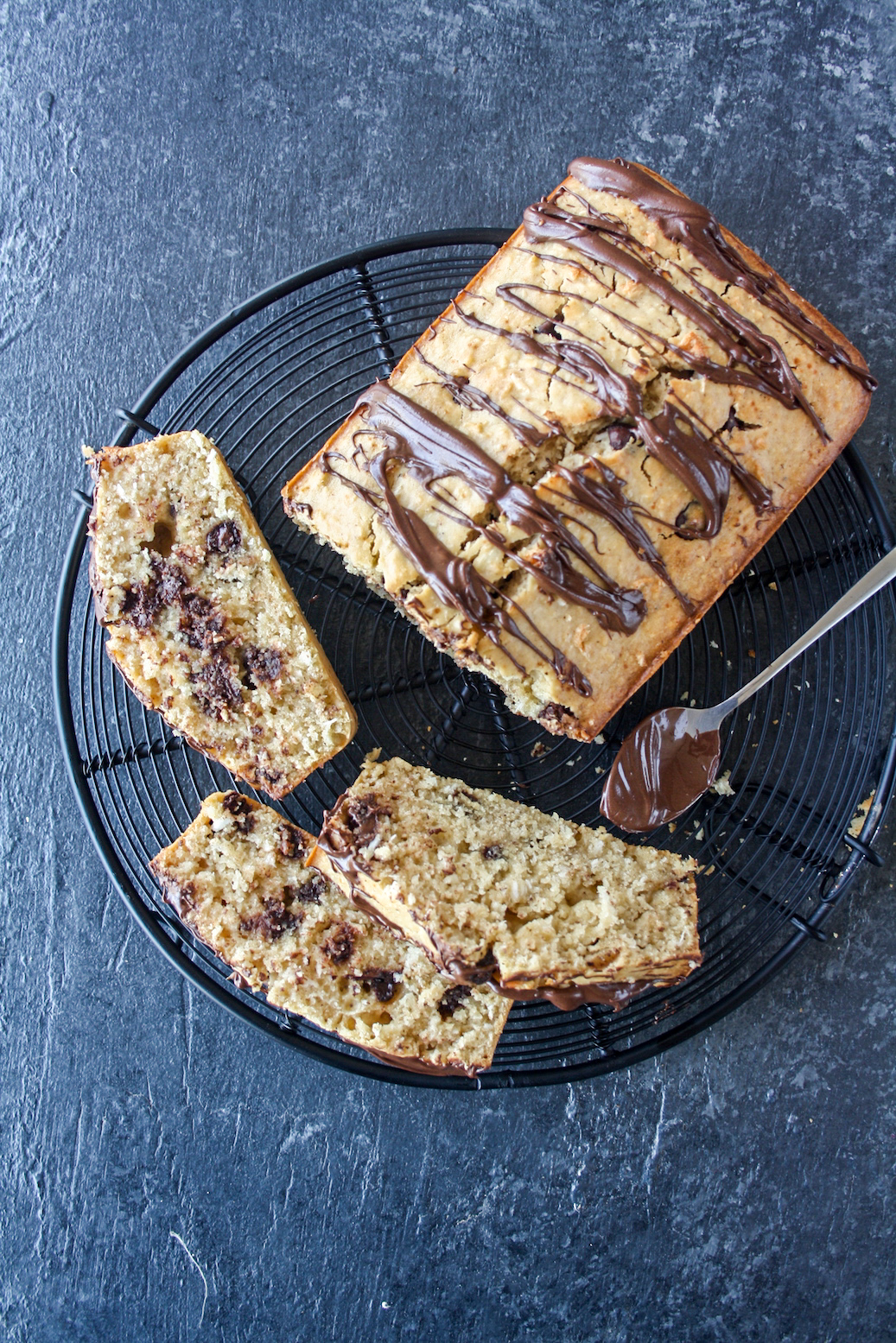 Coconut loaf cake with browned butter and chocolate chips