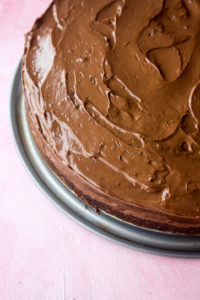 Tender chocolate cake with coffee, and a rich chocolate coffee ganache