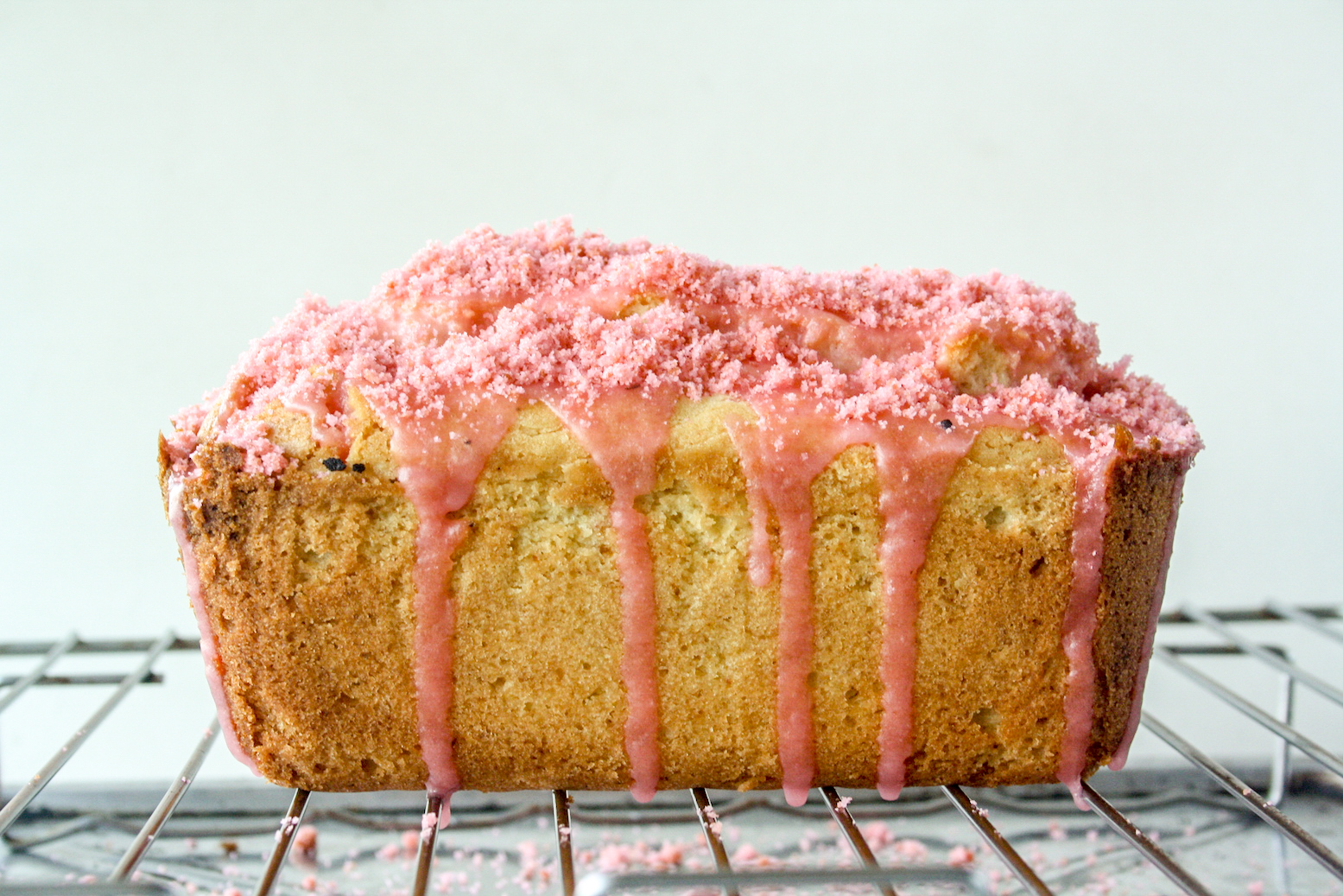 A glazed lemony loaf cake with a Valentine's surprise heart inside!