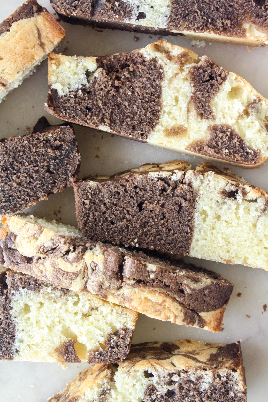 Soft, buttery vanilla and chocolate marble cake!