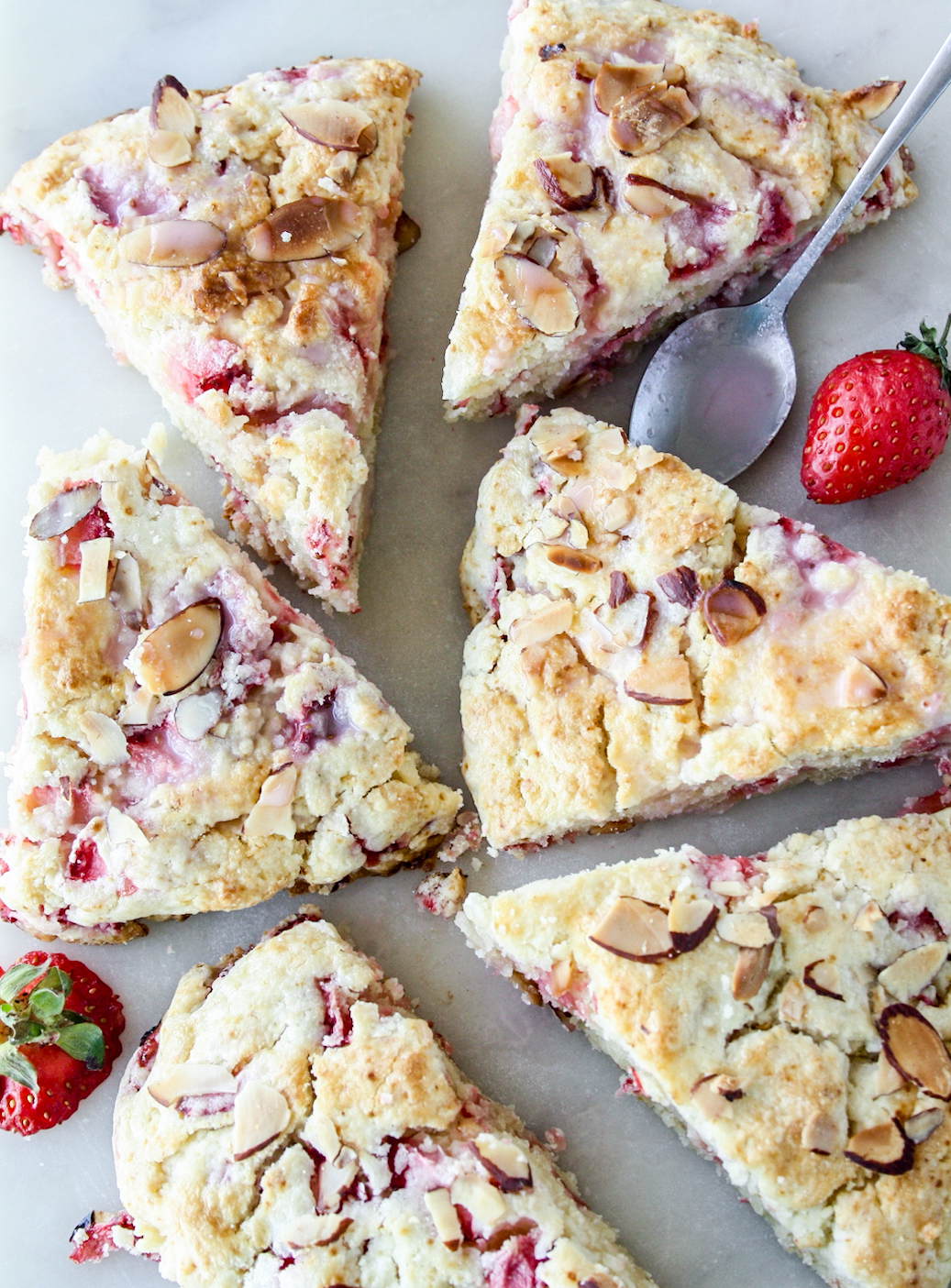 Tender, buttery scones made with strawberries and cream