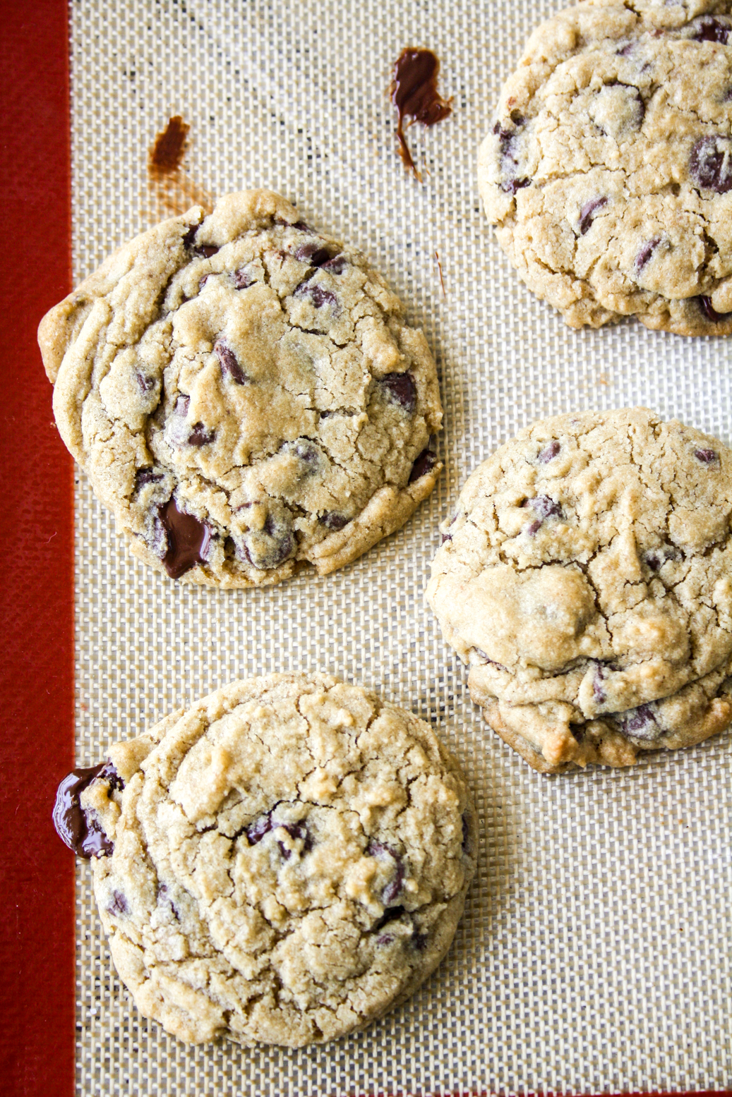 Crispy edged, chewy centered chocolate chip cookies with the flavours of whiskey and rye flour