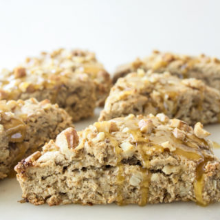 Tender wholewheat banana walnut scones, with a sticky honey butter glaze. No refined sugar!