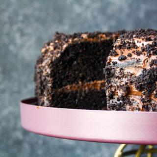 Rich, moist chocolate cake filled with chocolate pudding and covered in cake crumbs!