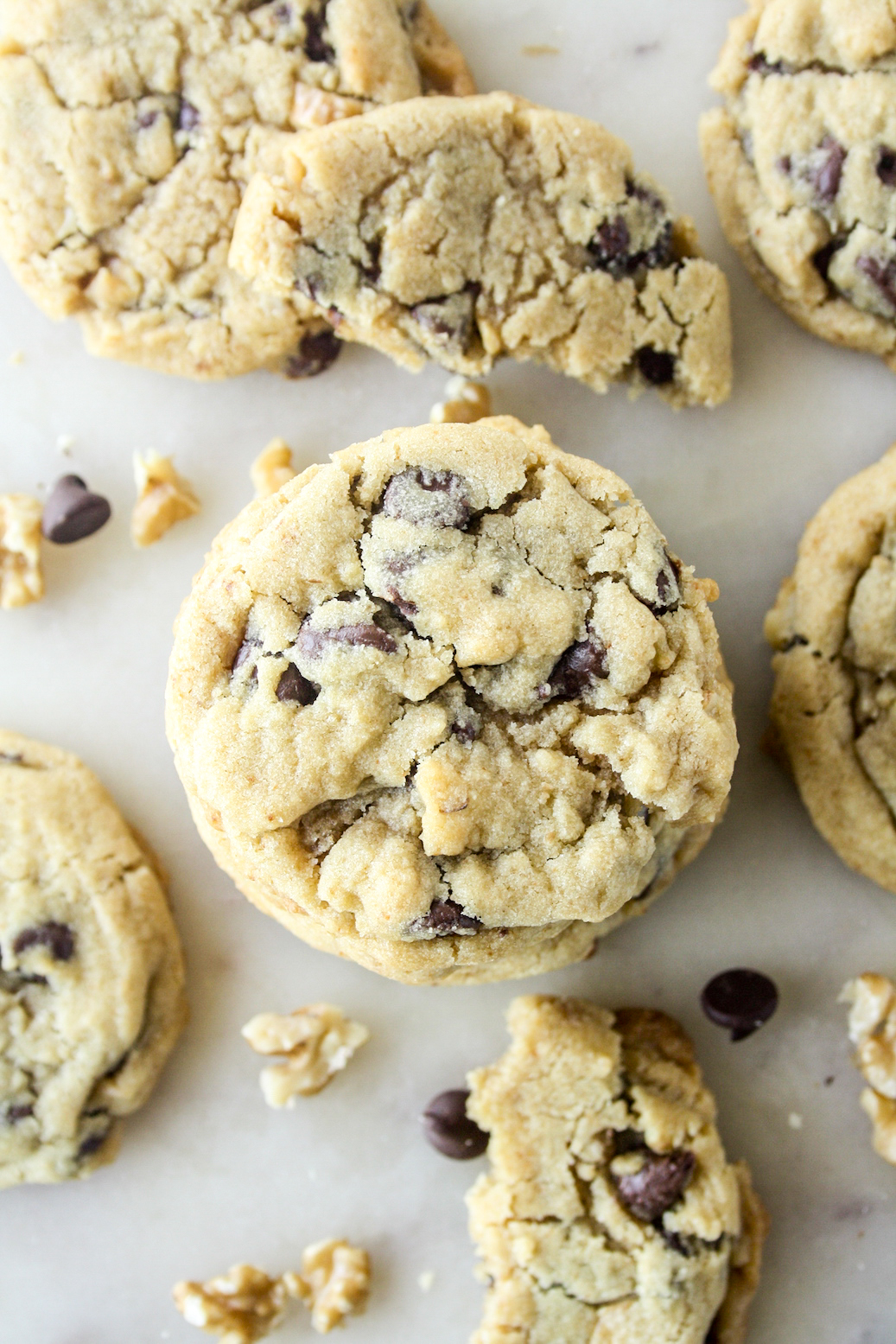 Chewy chocolate chip cookies with browned butter and walnuts