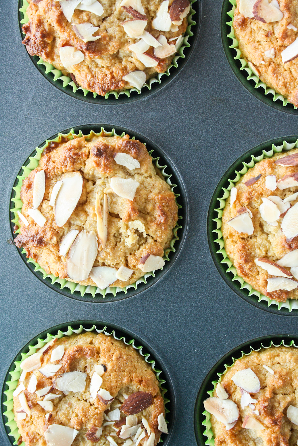 Eggless almond flour and orange muffins, sweetened with honey